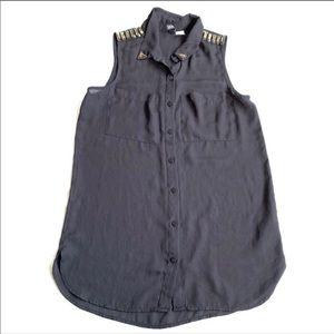 H&M divided black embellished chiffon  tank 2